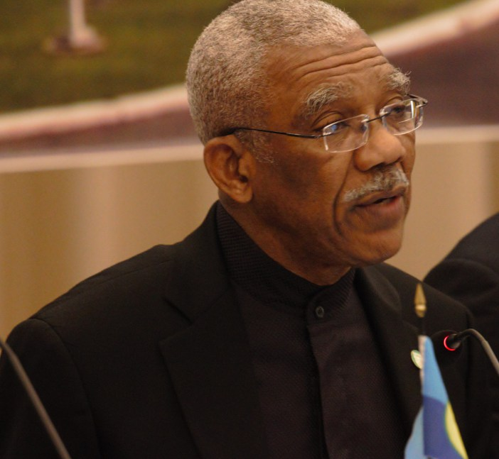 Chairman of CARICOM, President David Granger addresses the opening ceremony of the Twenty-Eighth Intersessional Meeting of the Conference of Heads of Government of CARICOM