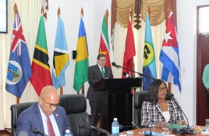 Cuba's Foreign Minister HE Bruno  Rodriguez Parrilla addresses Friday's CARICOM Cuba Ministerial. In the foreground are Grenada's Foreign Minister Hon. Peter David and Guyana's Foreign Minister Hon Dr Karen Cummings
