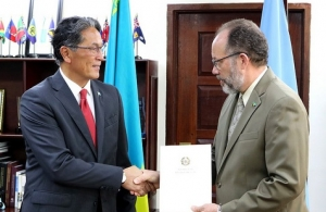 Kazakhstan's Ambassador to CARICOM HEAndrian Yelemessov being accredited in March this year